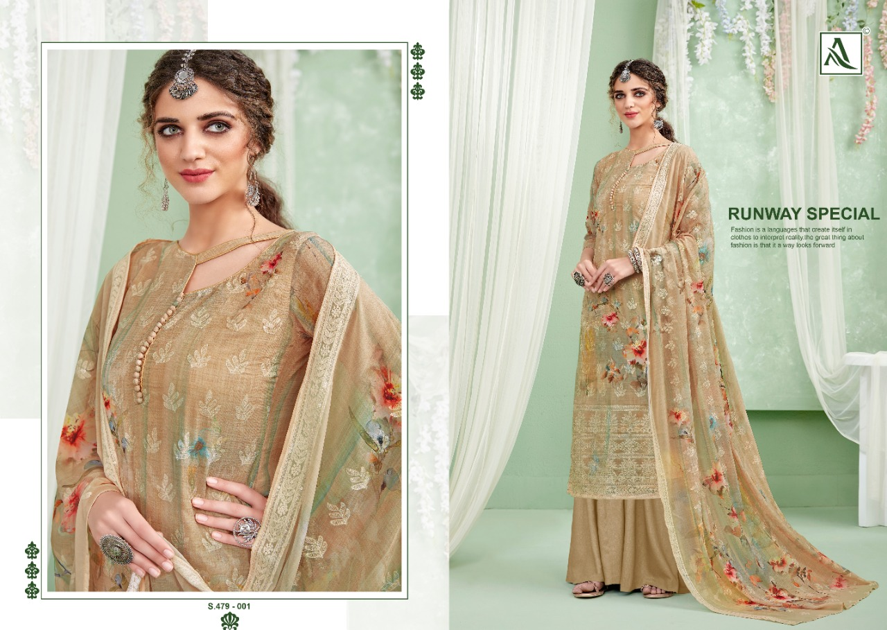 Alok Suits Evanshi Pure Georgette Digital Print With Chiffli Work Dress Material Collection At Wholesale Rate