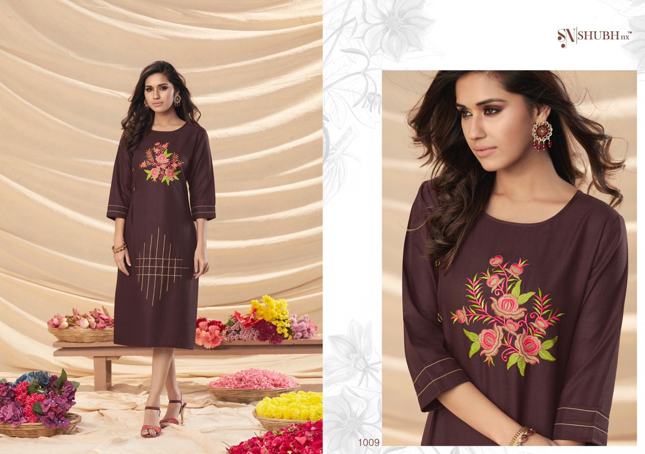 Shubh Nx Amul Designer Rooby Slub With Embroidery Work Readymade Kurtis At Wholesale Rate