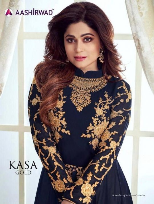 8d108fca1f Aashirwad Creation Kasha Gold Heavy Embroidered Real Georgette Anarkali  Suits Collection Surat