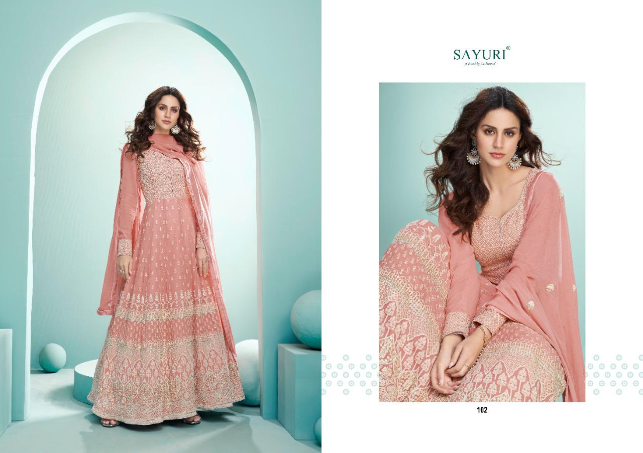 Aashirwad Sayuri Breeze Gold Real Georgette  With Embroidery Work Designer Long Anarkali Suits Collection At Wholesale Rate