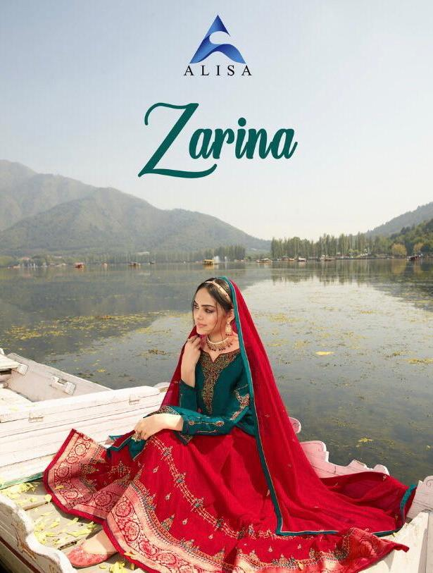 Alisa Zarina Designer Satin Georgette With Heavy Embroidery Work Salwar Kameez Collection At Wholesale Rate