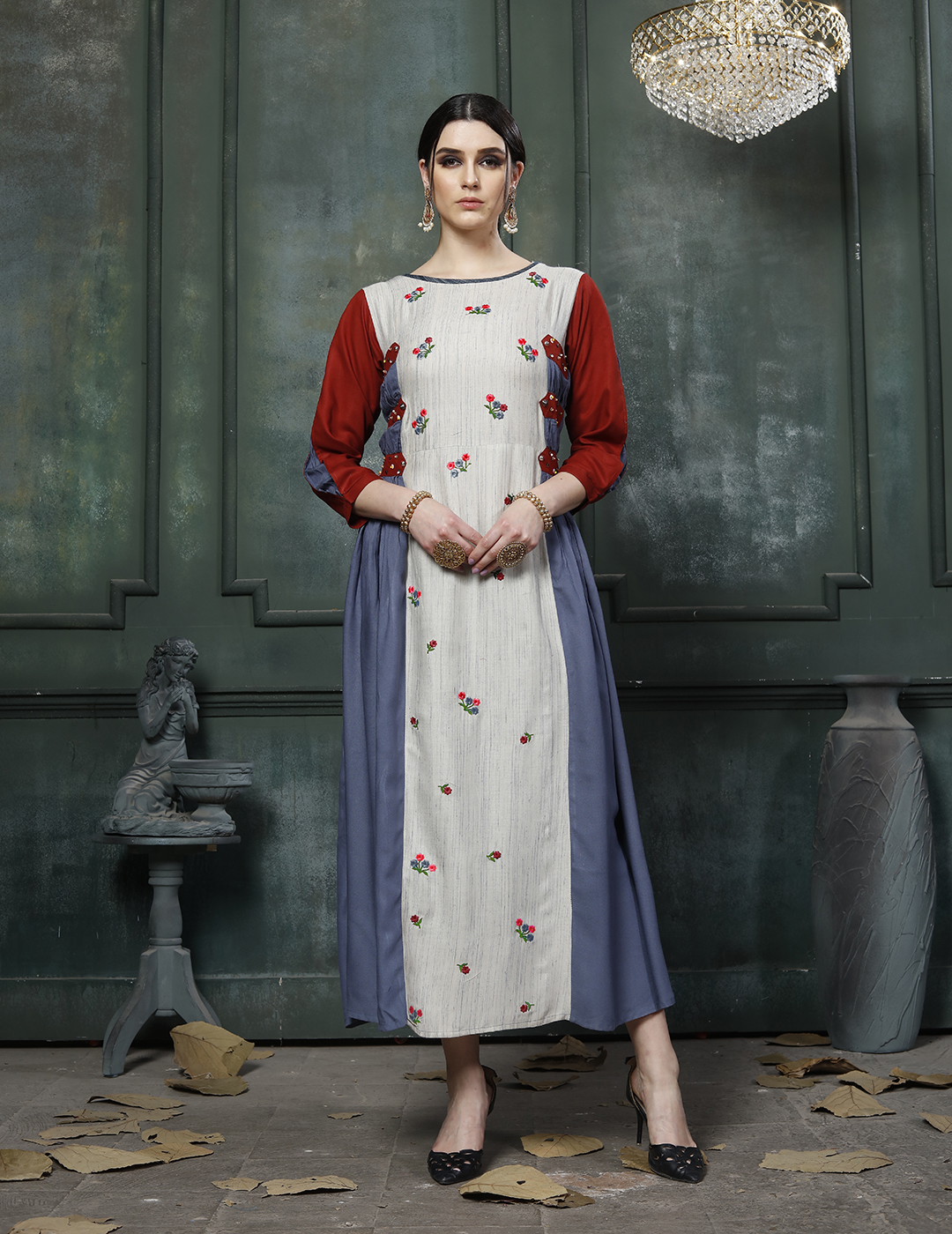 Alishka Printed Rayon With Embroidery Handwork Readymade Kurtis At Wholesale Rate