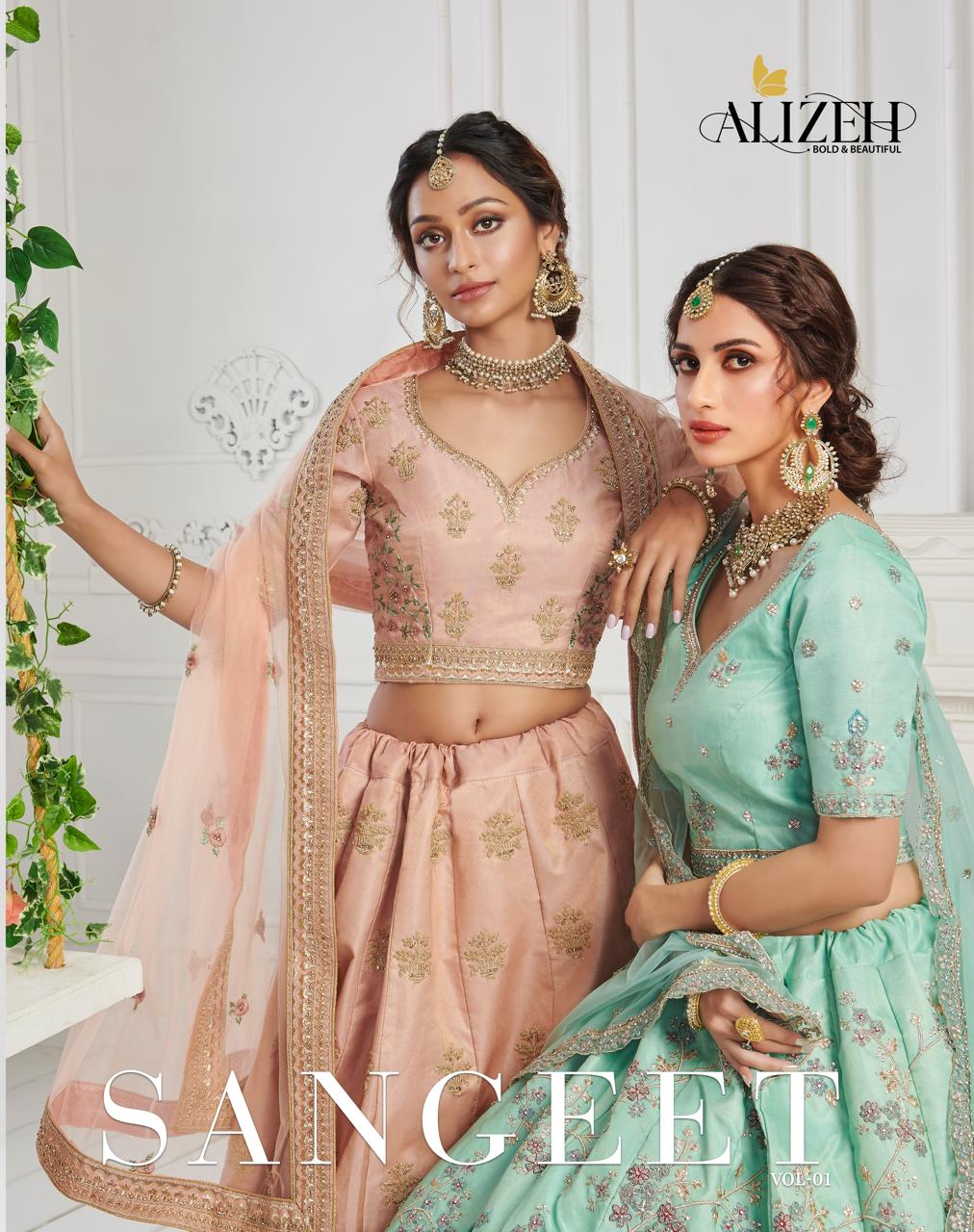 Alizeh Sangeet Vol 1 Silk With Heavy Thread Embroidery Work With Sequence Work Designer Bridal Leheanga Choli Collection