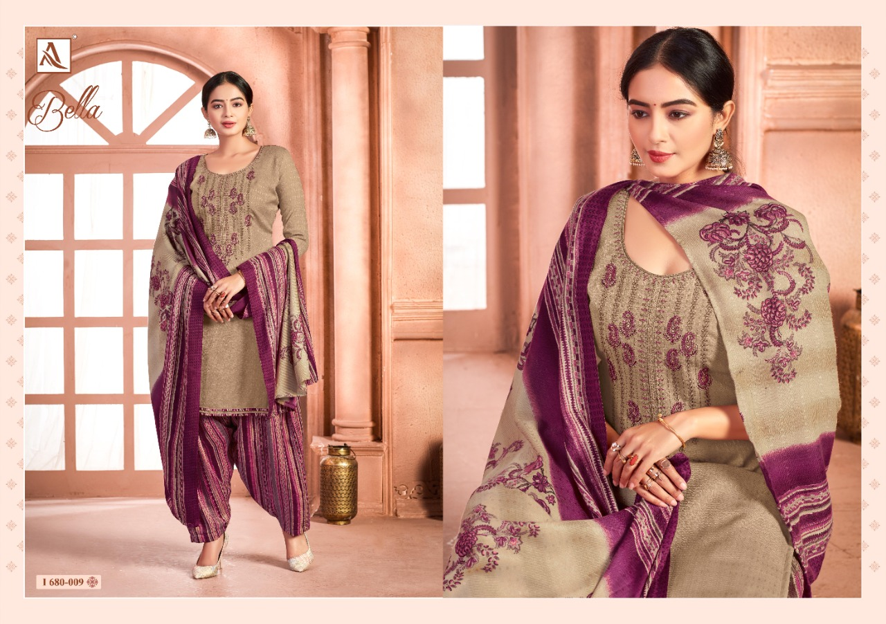 Alok Suits Bella Pure Pashmina Self Print With Exclusive Embroidery Work Dress Material Collection At Wholesale Rate