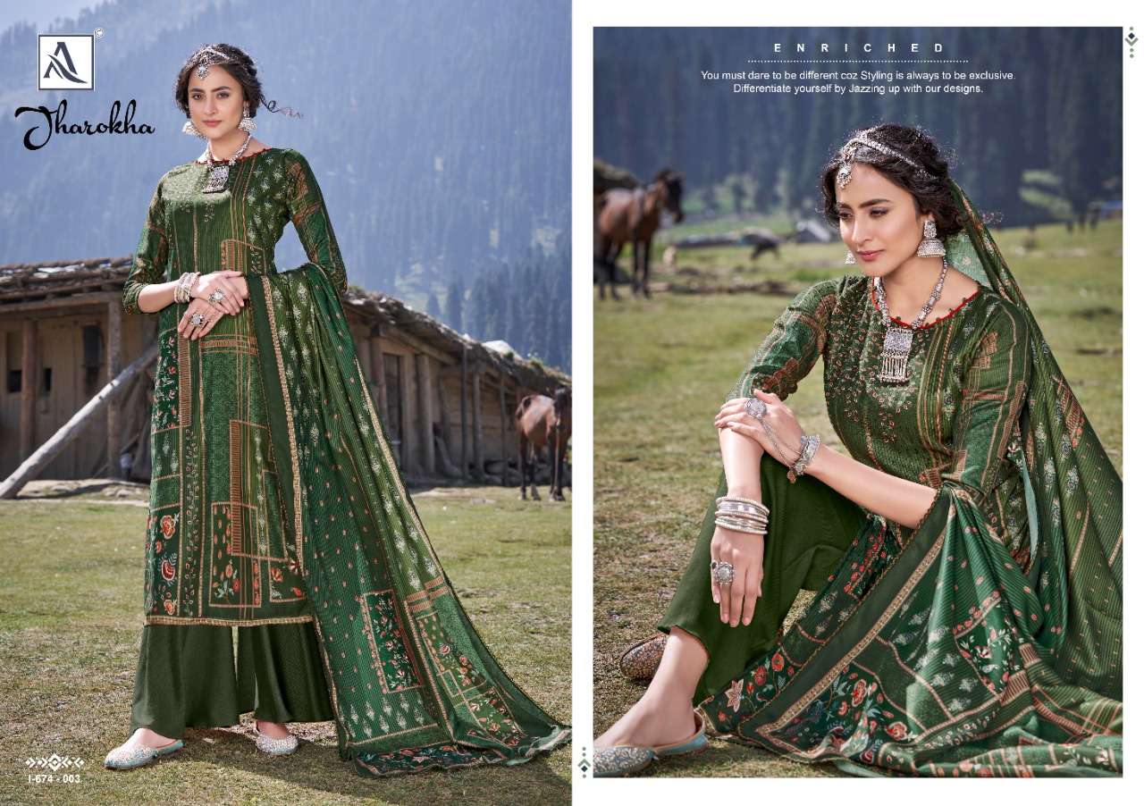 Alok Suits Jharokha Pure Wool Pashmina Digital Print Dress Material Collection At Wholesale Rate