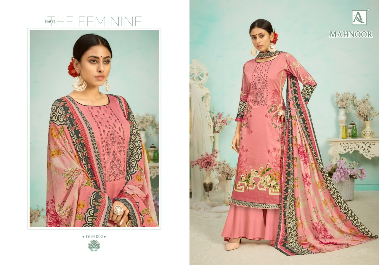 Alok Suits Mahnoor Pure Jam Digital Print With Embroidery Work With Swarovski Diamond Work Dress Material At Wholesale Rate