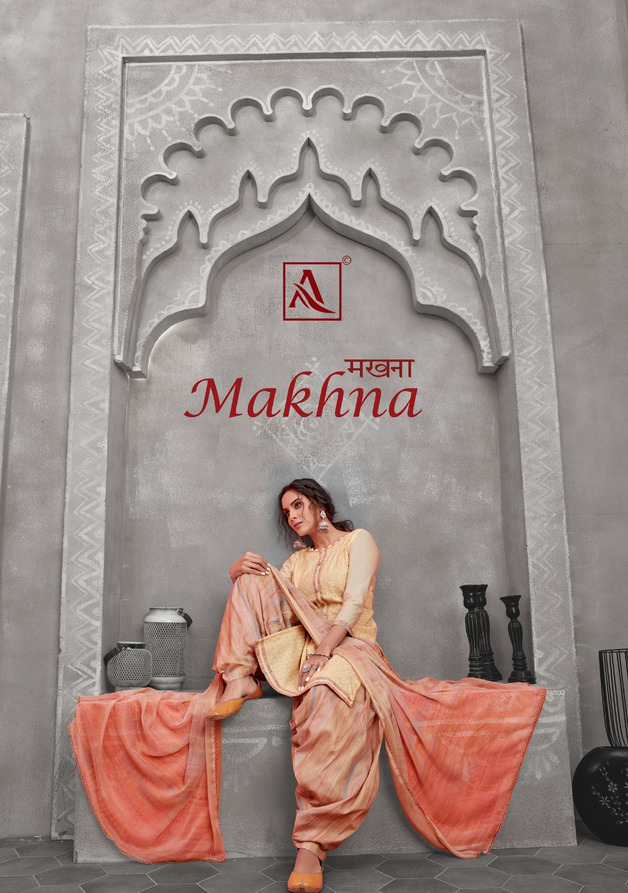 Alok Suit Makhna Pure Cotton Chicken Work With Stitched Tie Dress Material Collection At Wholesale Rate