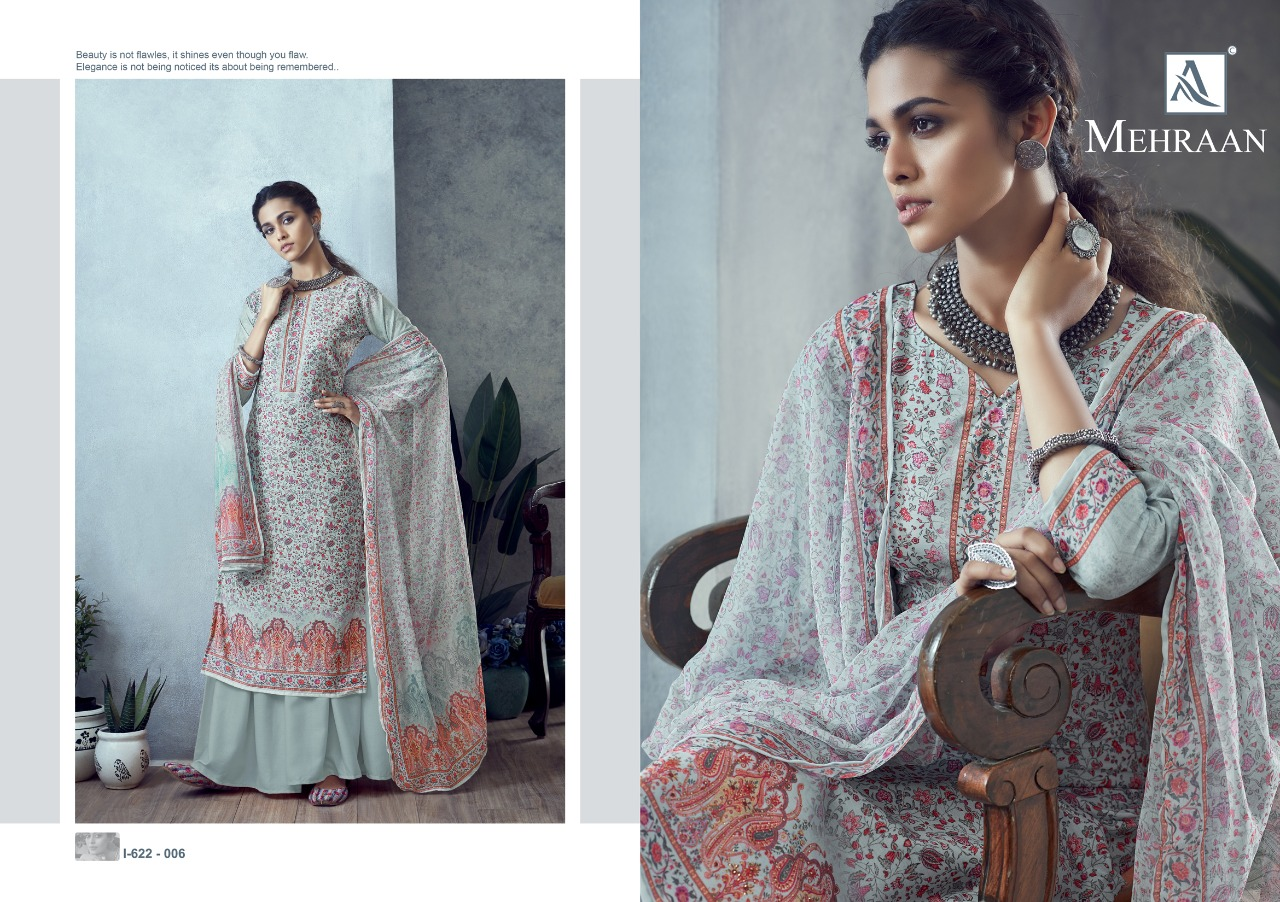 Alok Suits Mehraan Pure Muslin Digital Print With Swarovski Diamond Work Dress Material At Wholesale Rate