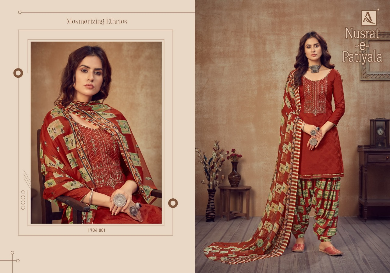 Alok Suits Nusrat E Patiyala Pure Jam Jacquard With Fancy Thread Work Dress Material Collection At Wholesale Rate