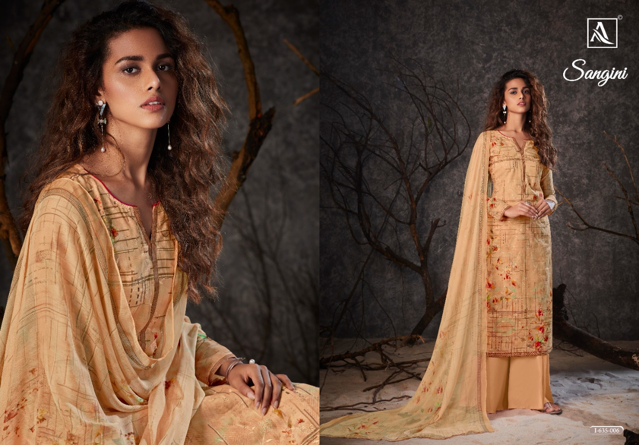 Alok Suits Sangini Fancy Cotton Embroidery Work With Digital Print Dress Material At Wholesale Rate