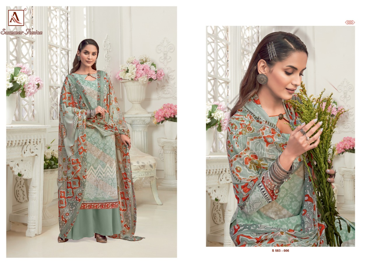 Alok Suits Summer Fusion Pure Cambric Digital Print Dress Material At Wholesale Rate