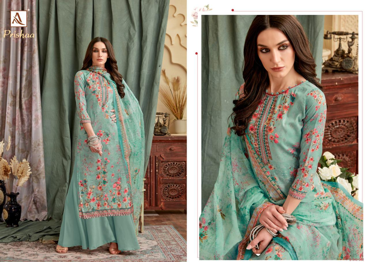Alok Suits Prishaa Pure Cotton Jam Digital Print With Swarovski Diamond Work Dress Material At Wholesale Rate