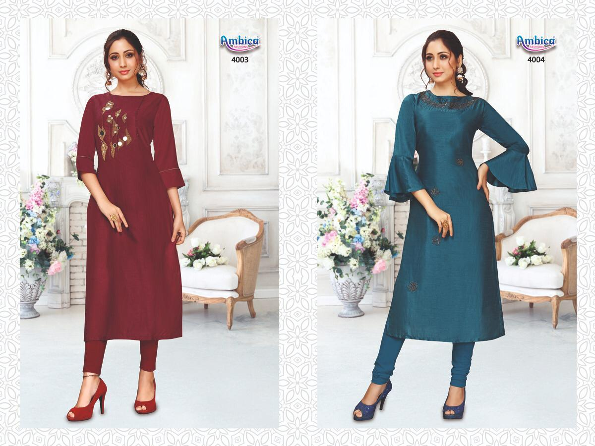 Ambica Fashion Aishani Ikkal Silk Dyed With Handwork Redymade Kurtis Collection At Wholesale Rate