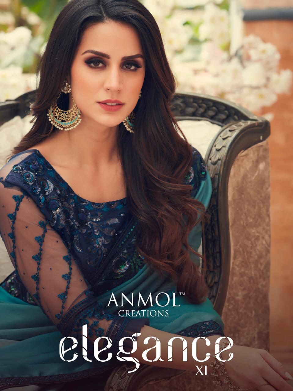 Anmol Creation Elegance Vol 11 Designer Digital Printed Chiffon With Work Sarees Collection At Wholesale Rate