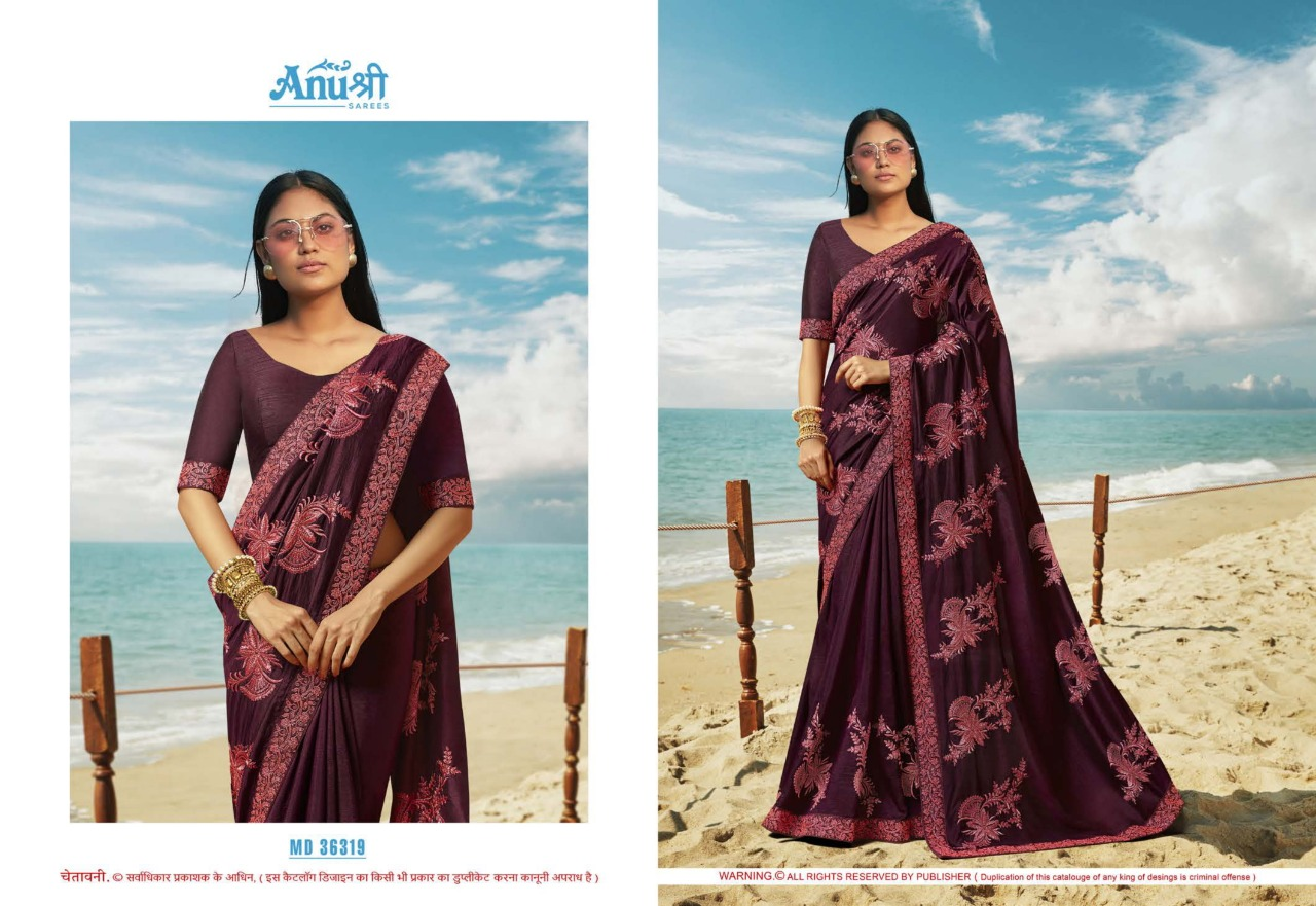 Anushree Madamji  Chinnon Georgette Fancy Sarees Collection At Wholesale Rate