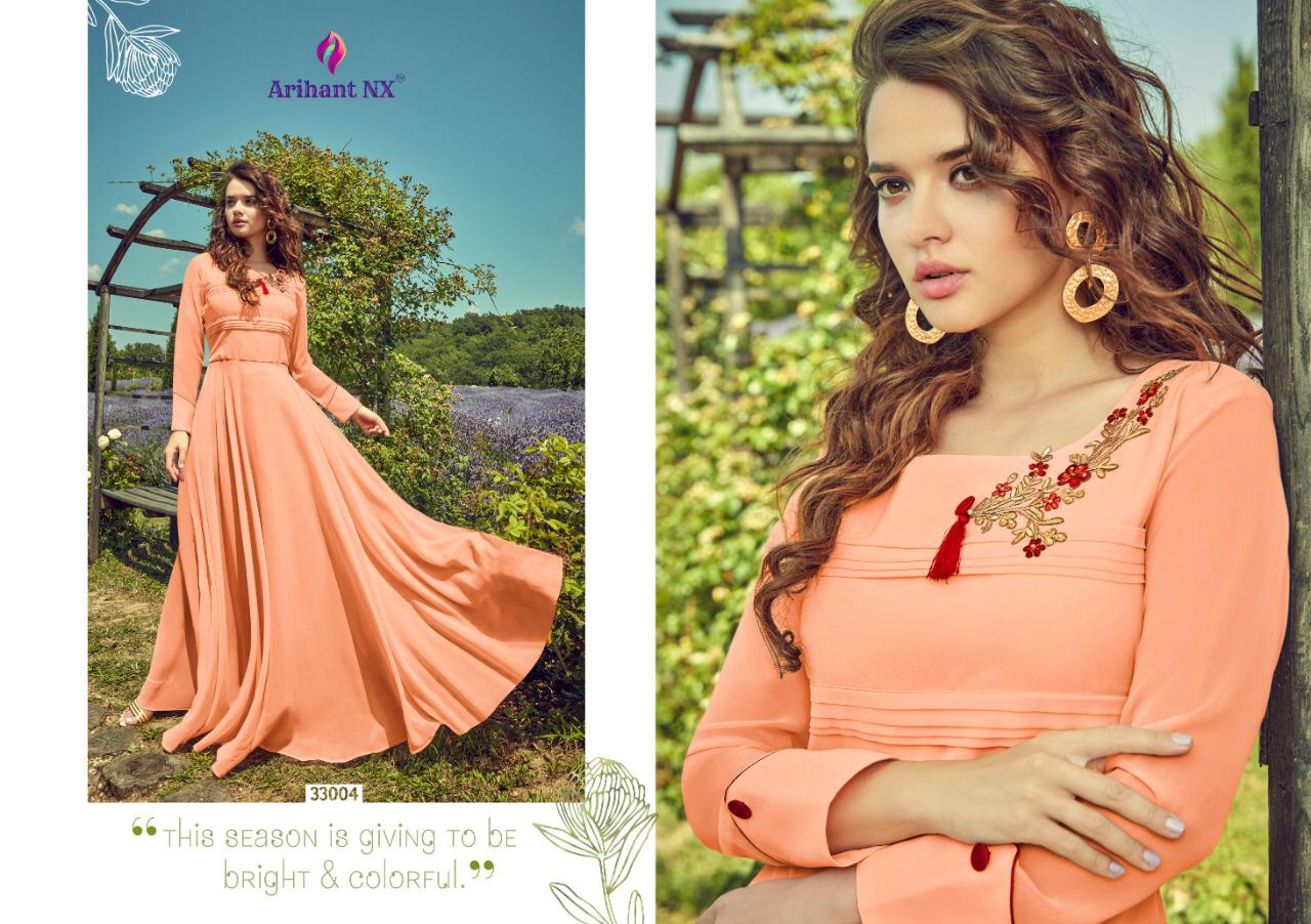 Arihant Nx Floss Designer Georgette With Embroidery Work Readymade Party Wear Kurtis At Wholesale Rate