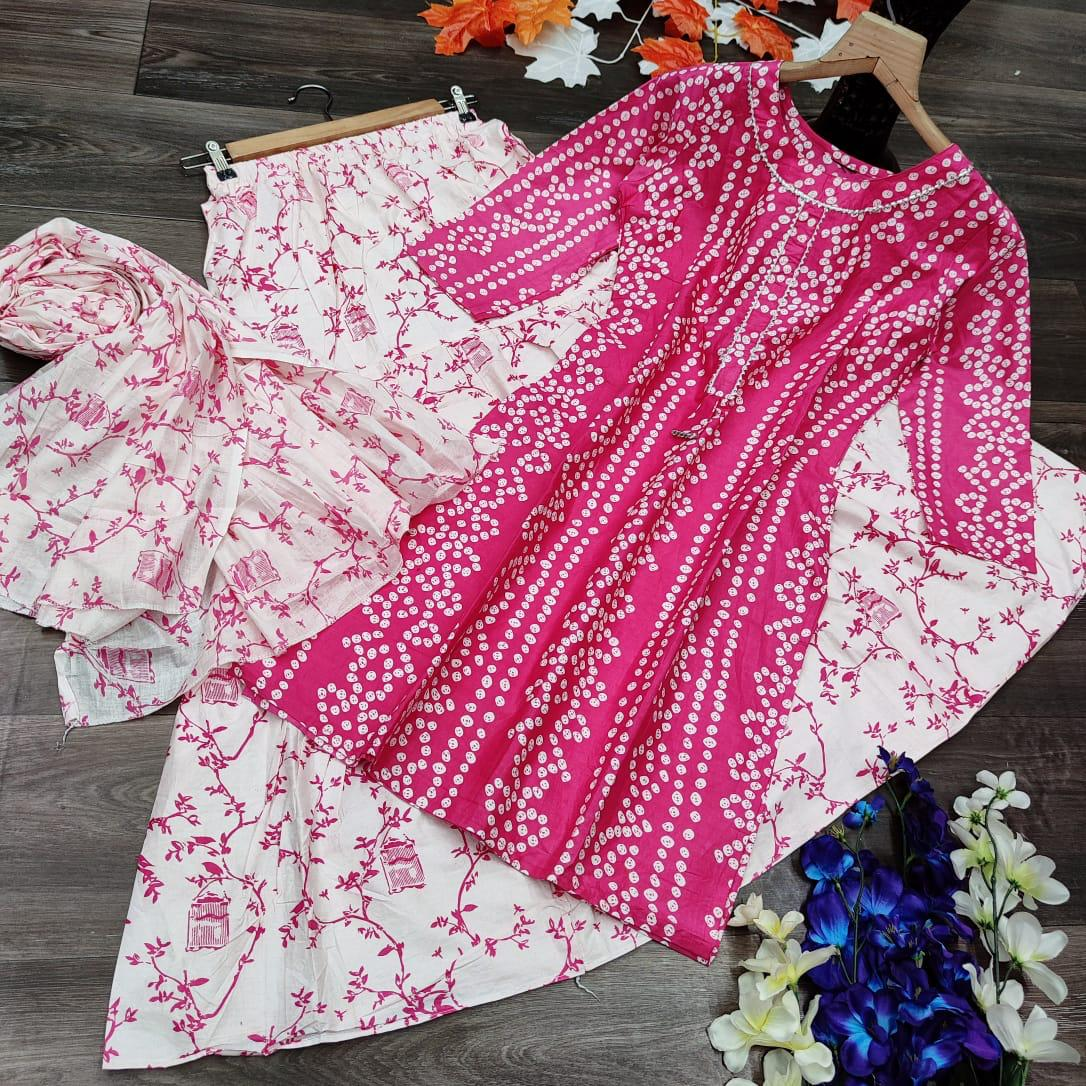 Latest Rayon Cotton With Bandhani Printed Kurtis Palazzo With Dupatta Collection At Wholesale Rate