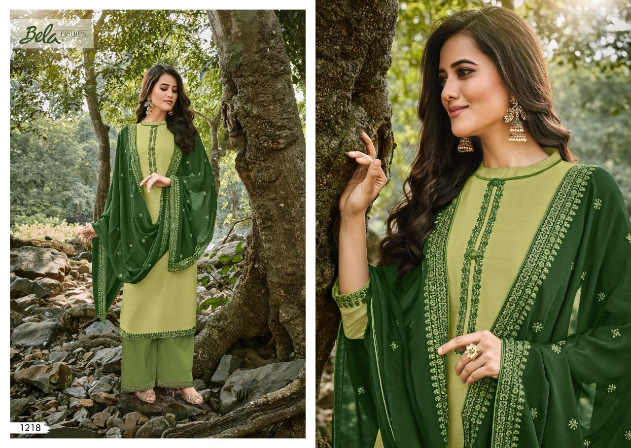 Bela Fashion Mukhar Cotton Silk With Embroidery Work Dress Material Collection At Wholesale Rate