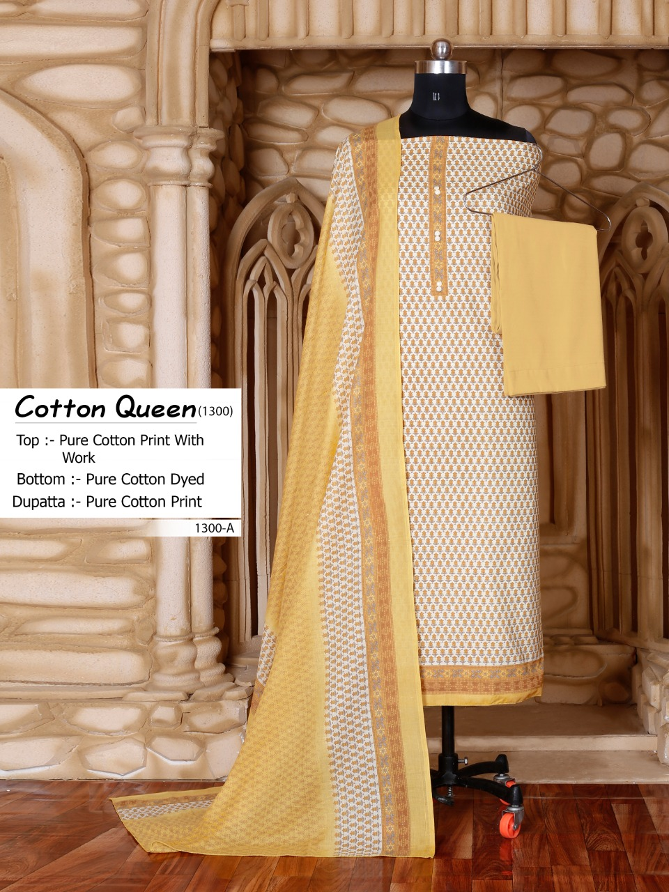 Bipson Fashion Cotton Queen 1300 Series Pure Cotton Print With Hand Work Dress Material At Wholesale Rate