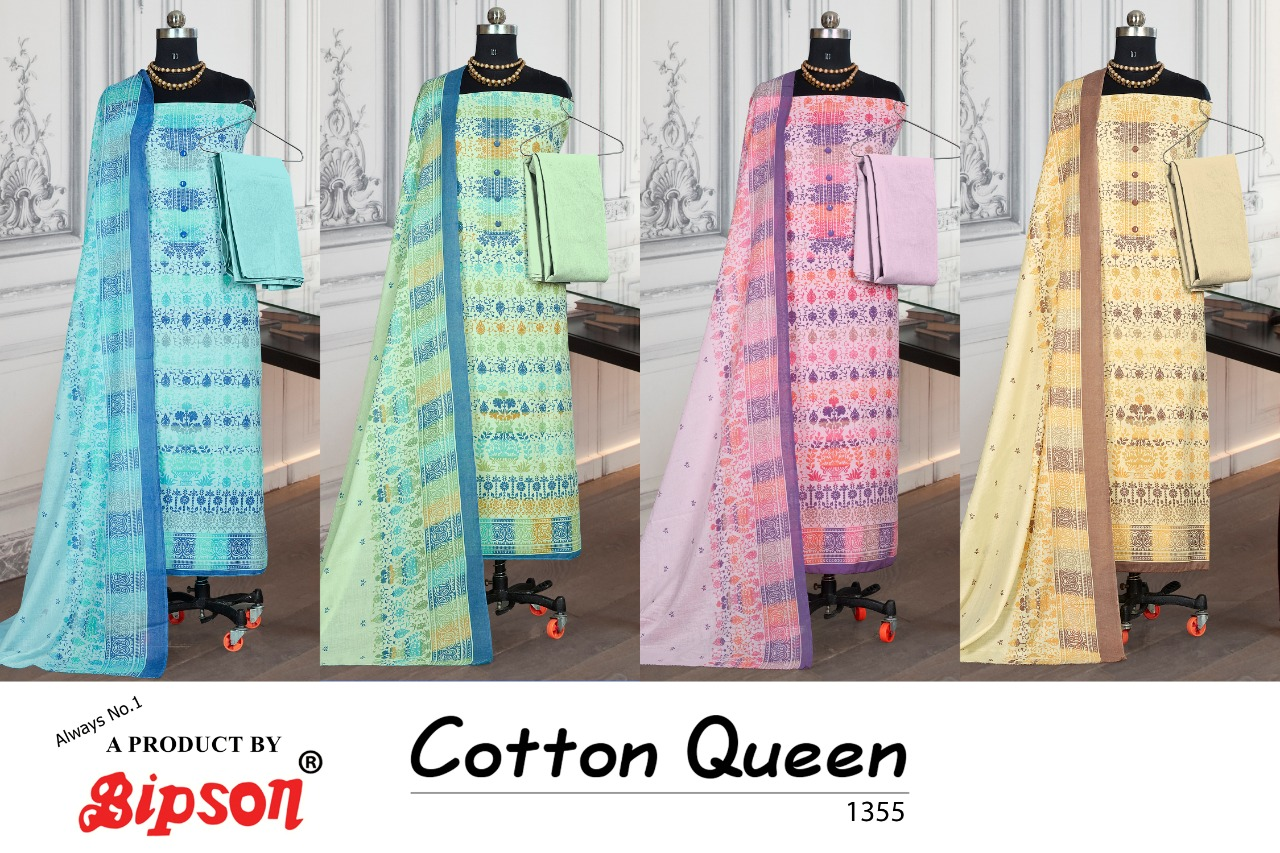 Bipson Fashion Cotton Queen 1355 Pure Cotton Print With Work Dress Material At Wholesale Rate