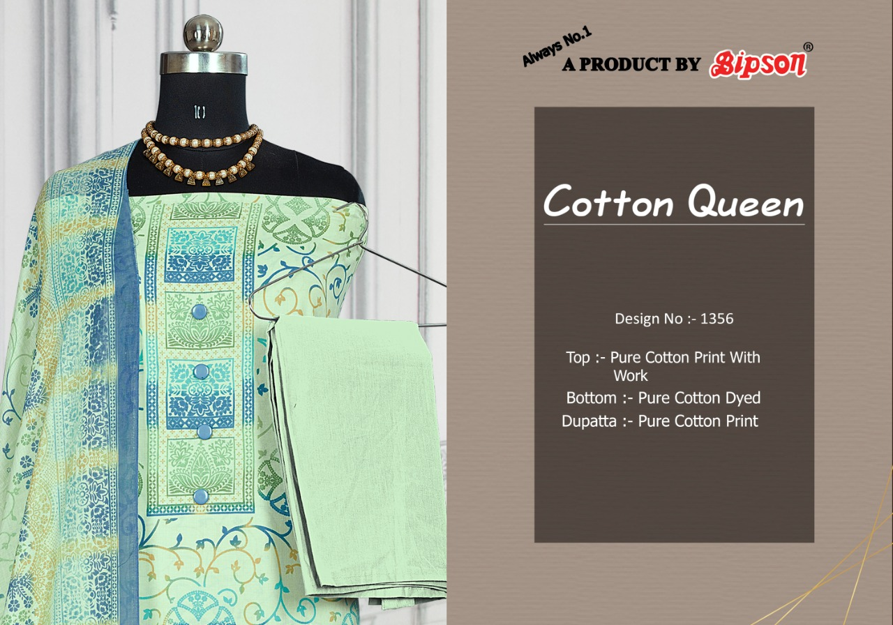 Bipson Fashion Cotton Queen 1356 Pure Cotton Print With Work Dress Material At Wholesale Rate