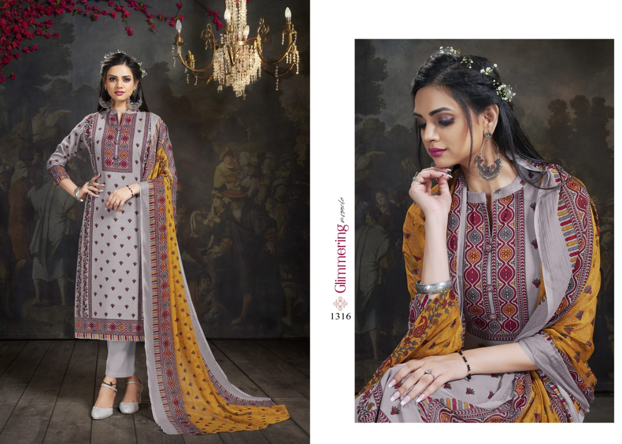 Bipson Fashion Khwaab Cotton Print With Work Dress Material At Wholesale Rate