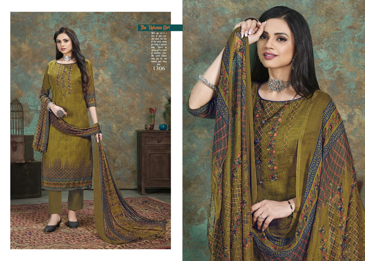 Bipson Fashion Naaz Cotton Slub Print With Work Dress Material Collection At Wholesale Rate