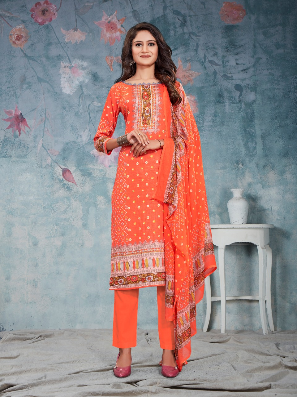 Bipson Fashion Preeto 1291 Glace Cotton Print With Embroidery Work Dress Material At Wholesale Rate