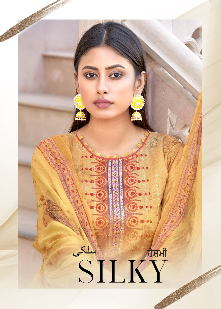 Bipson Fashion Silky Cotton Satin Digital Printed With Sequence Work Dress Material At Wholesale Rate