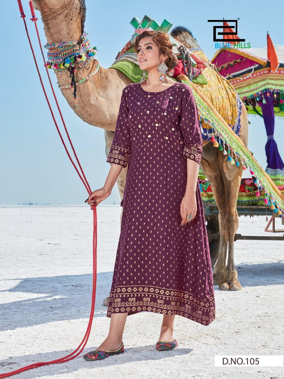 Blue Hills Dessert Vol 1 Rayon With Mirror Work Readymade Long Kurtis Collection At Wholesale Rate
