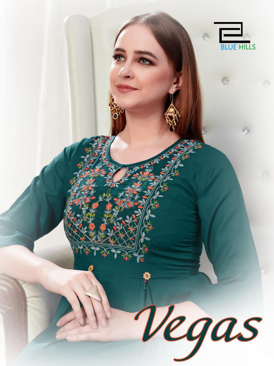 Blue Hills Vegas Rayon Slub With Embroidery Work Fancy Kurtis Collection At Wholesale Rate