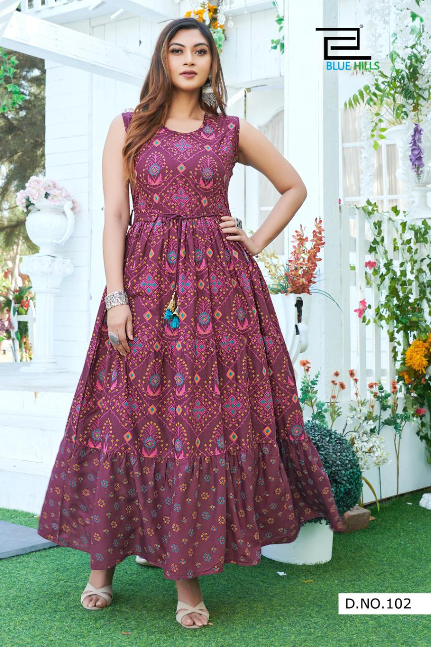 Blue Hills Sun Shine Nx Heavy Rayon Print Long Gown Style Kurtis Collection At Wholesale Rate