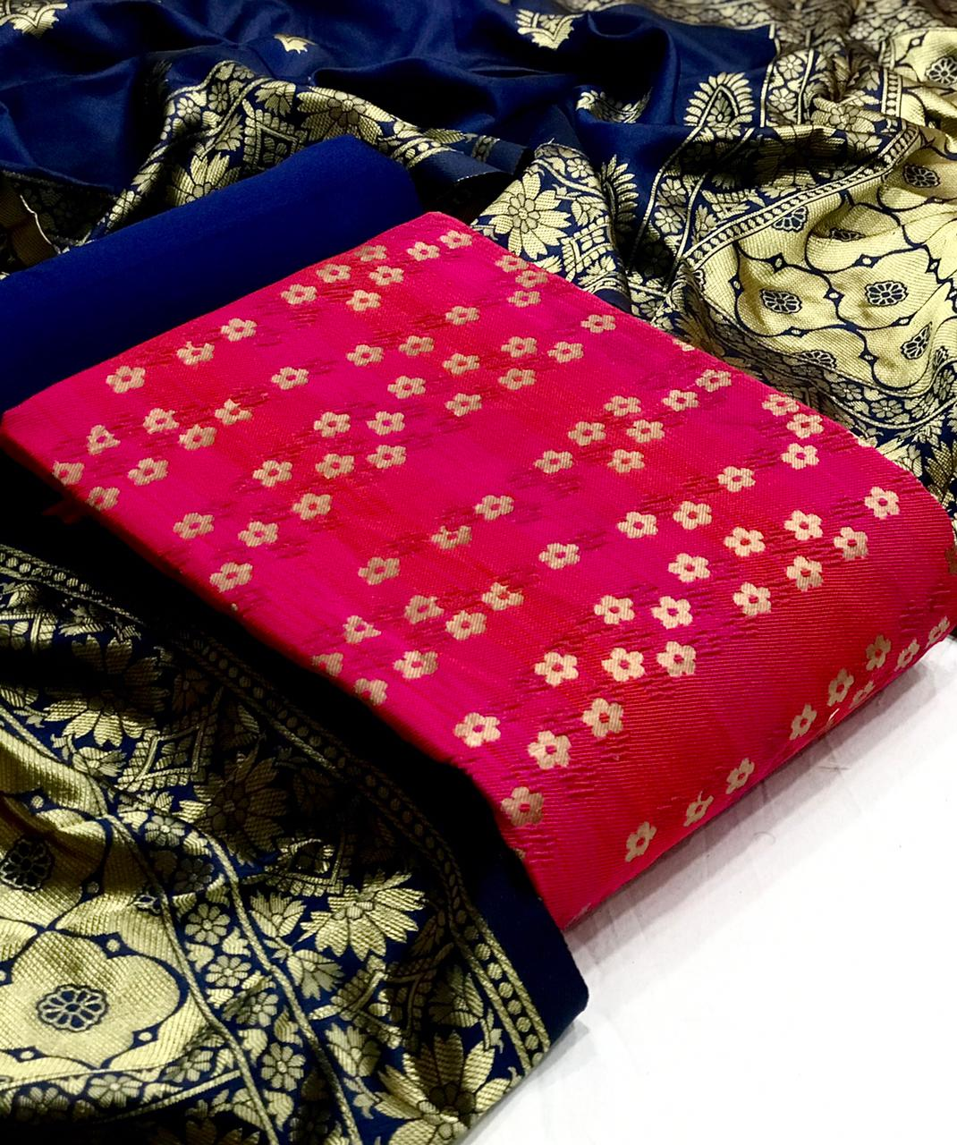 Bubble Banarasi Silk With Jacquard Weaving Dress Material Collection