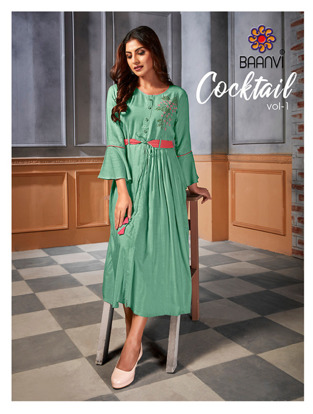 Baanvi Cocktail Vol 1 Rayon With Embroidery Work Readymade Long Kurtis At Wholesale Rate