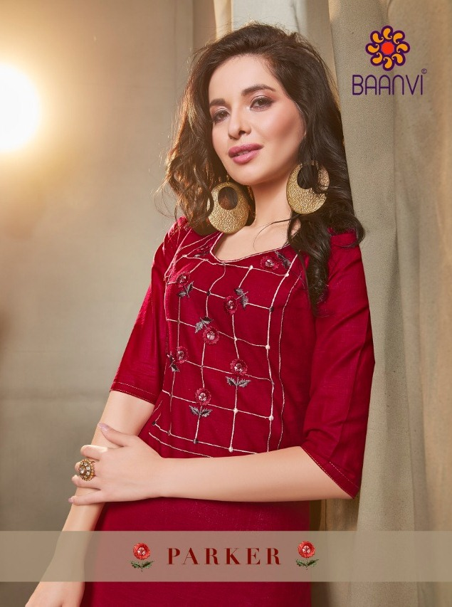 Baanvi Parker Designer Cotton Slub With Embroidery Work With Rayon Print Readymade Kurtis At Wholesale Rate