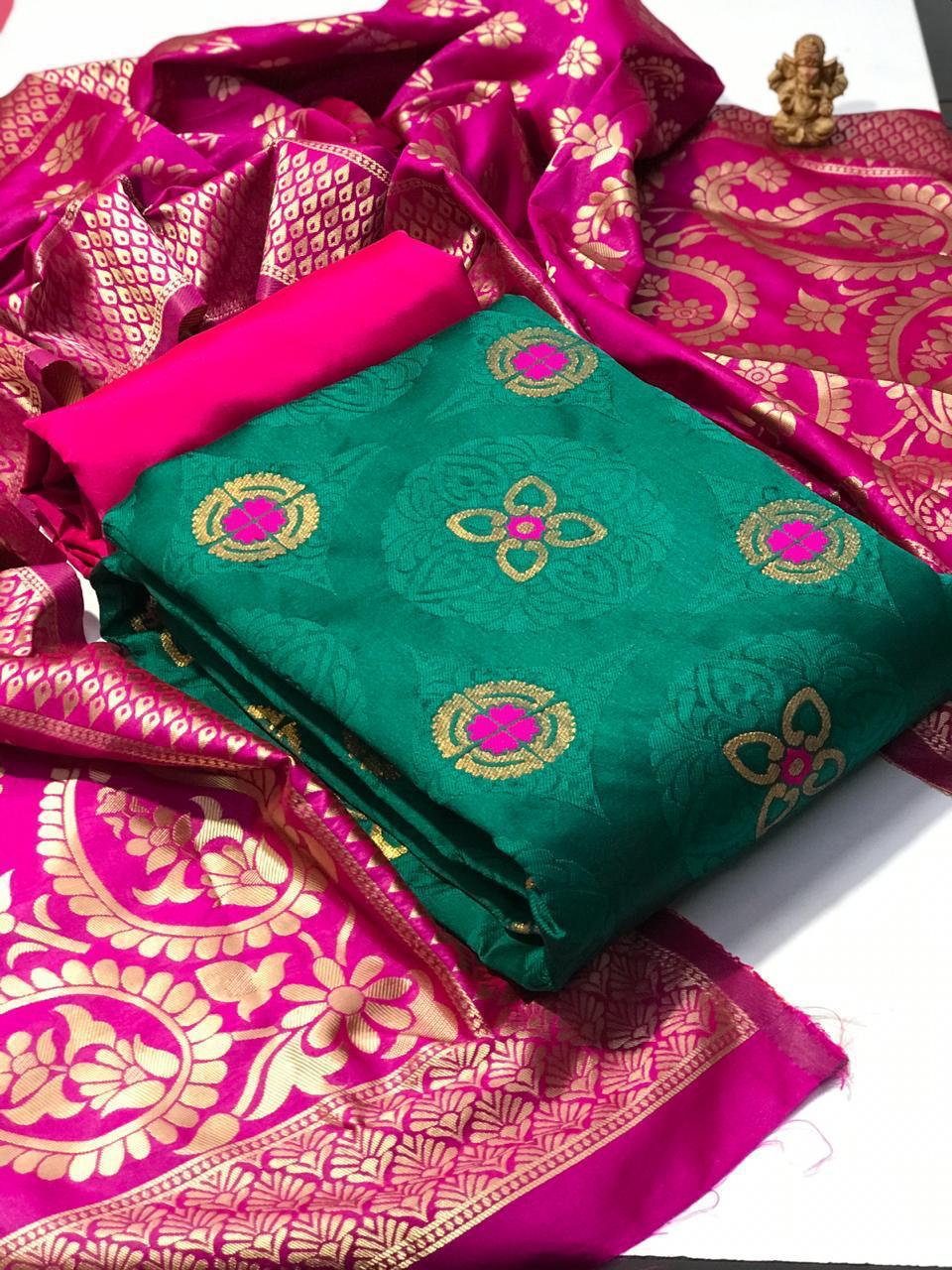 Banarasi Silk Ikkat Banarasi Silk With Jacquard Weaving Dress Material Collection