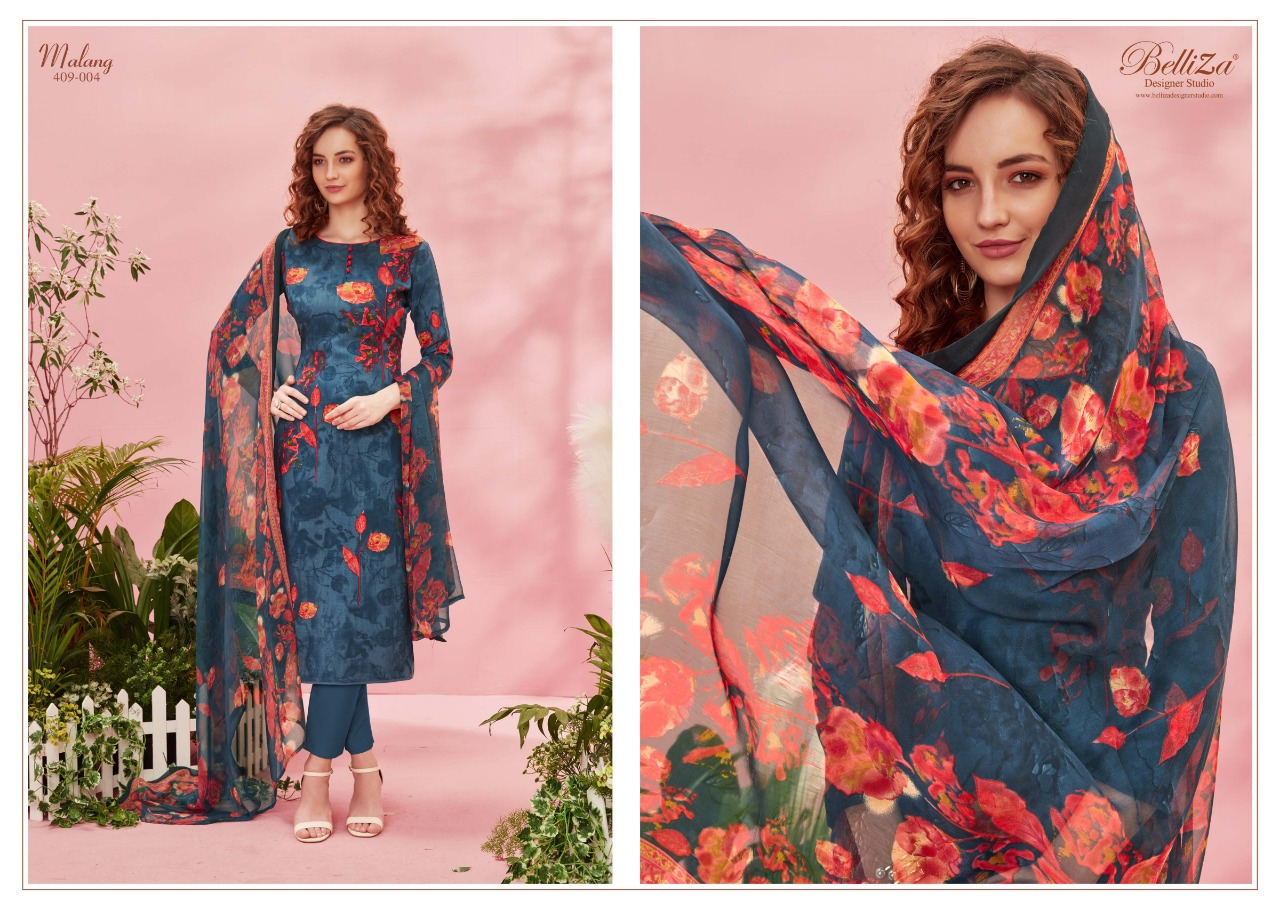 Belliza Designer Studio Malang Rayon Digital Printed Dress Material At Wholesale Rate
