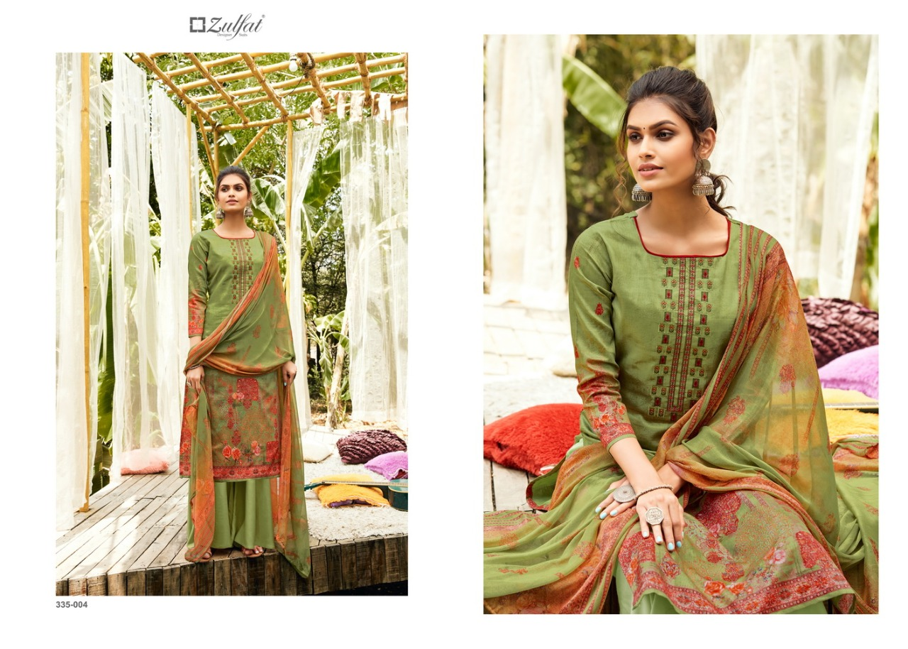Belliza Designer Studio Zulfat Ananya Jam Cotton Digital Print With Heavy Fancy Embroidery Work Dress Material At Wholesale Rate