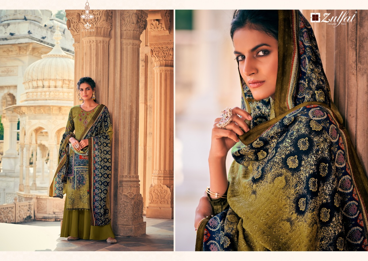 Belliza Designer Studio Zulfat Olive Pure Pashmina Print With Heavy Embroidery Work Dress Material At Wholesale Rate