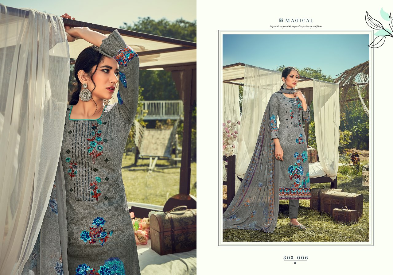 Belliza Designer Studio Zulfat Amelia Pure Cotton Digital Print With Fancy Embroidery Work Dress Material At Wholesale Rate