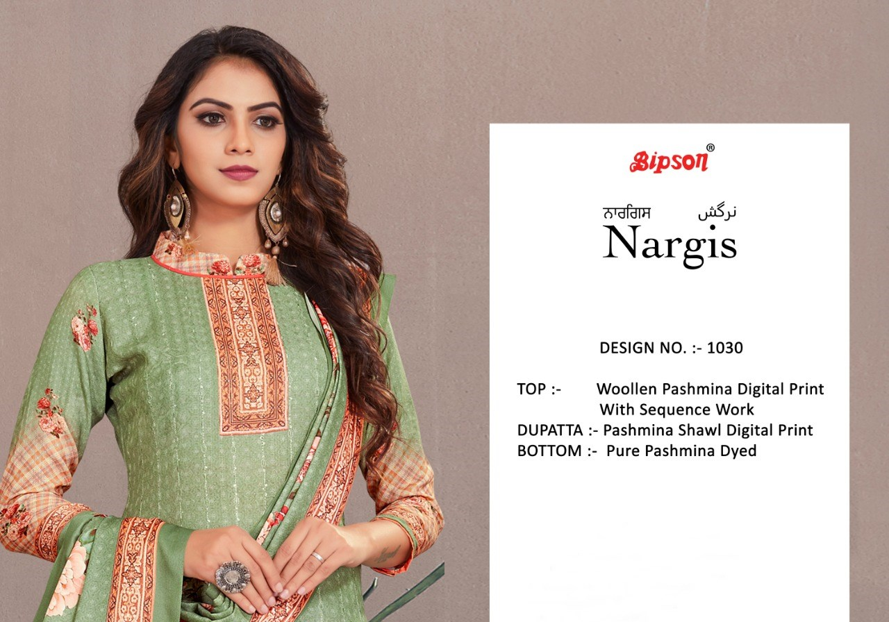 Bipson Nargis 1030 Series Digital Printed Woolen Pashmina With Sequins Work Dress Material At Wholesale Rate