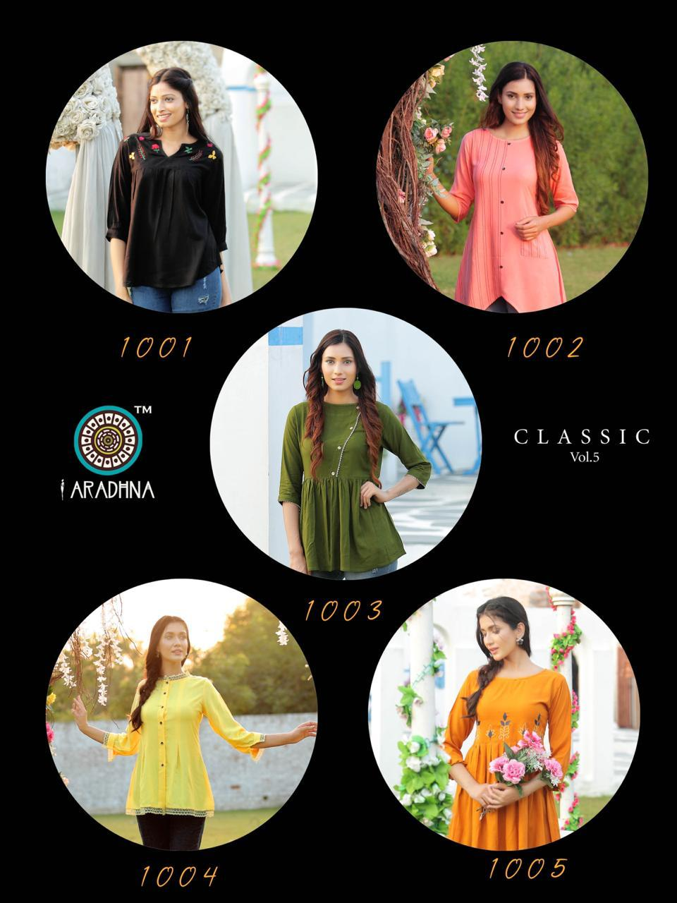 Aradhna Classic Vol 5 Rayon With Work Readymade Kurti Tops Collection At Wholesale Rate