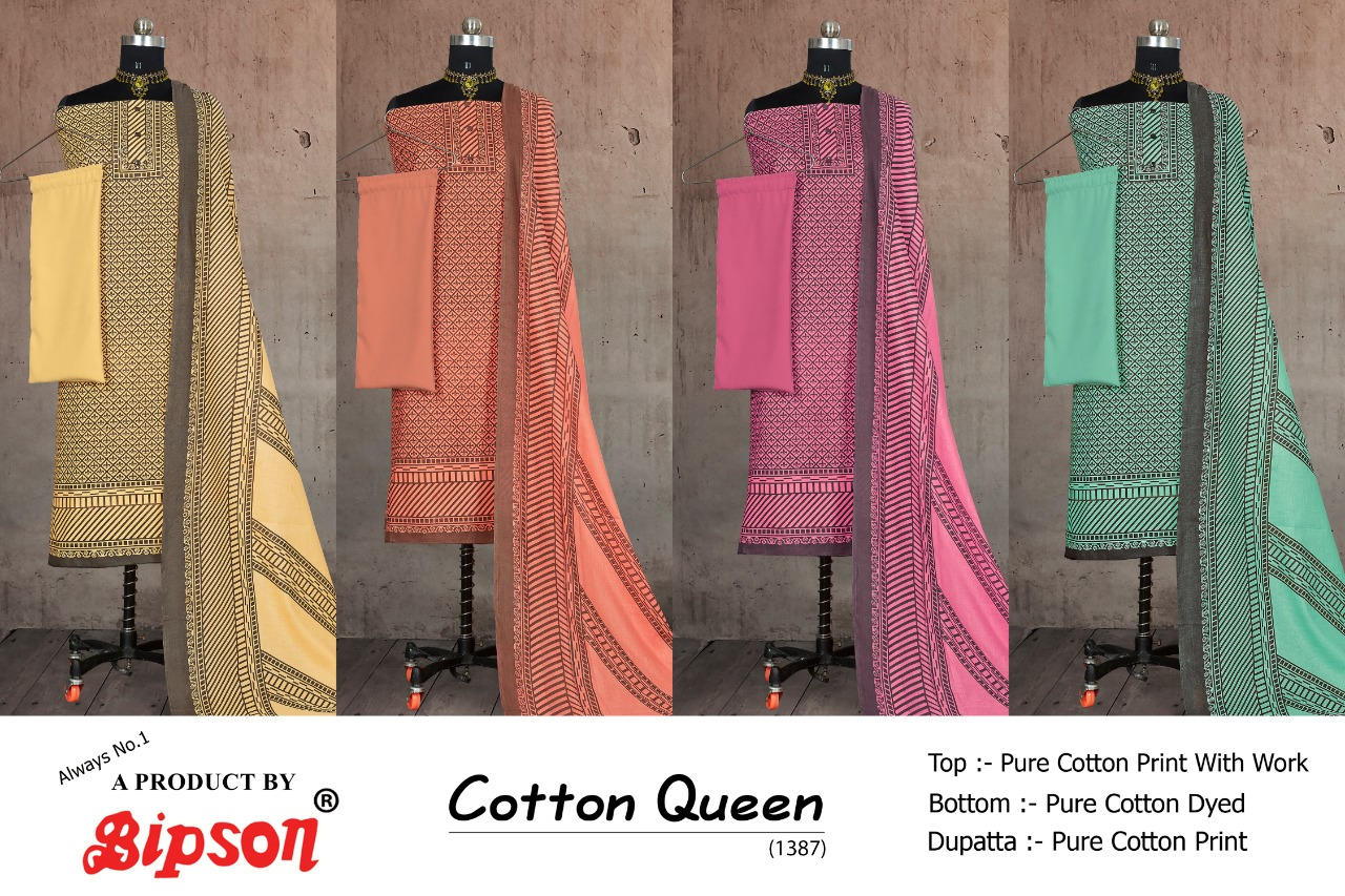 Bipson Fashion Cotton Queen 1387 Cotton Print With Work Dress Material At Wholesale Rate