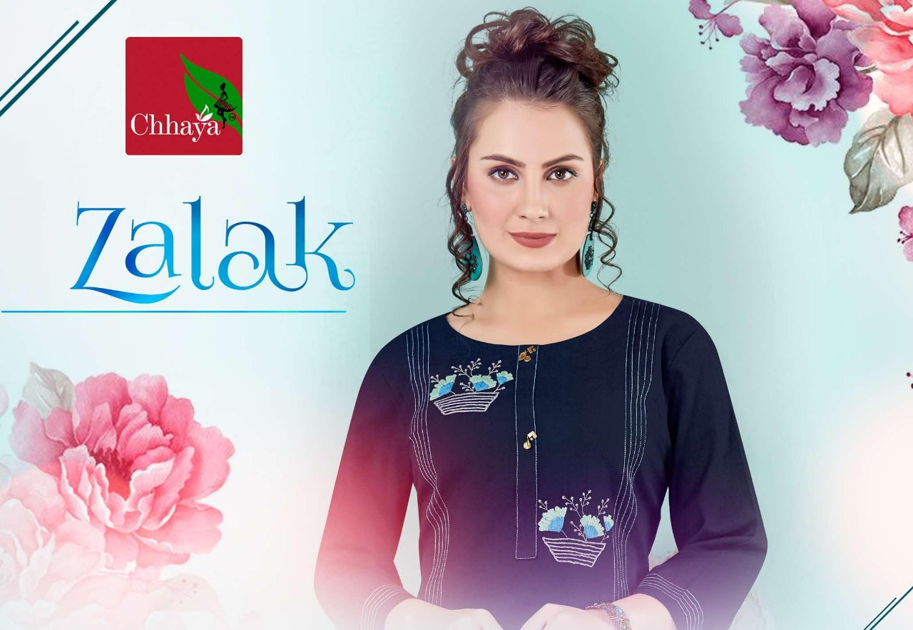 Chhaya Zalak Heavy Cotton With Embroidery Work Readymade Kurtis With Bottom At Wholesale Rate