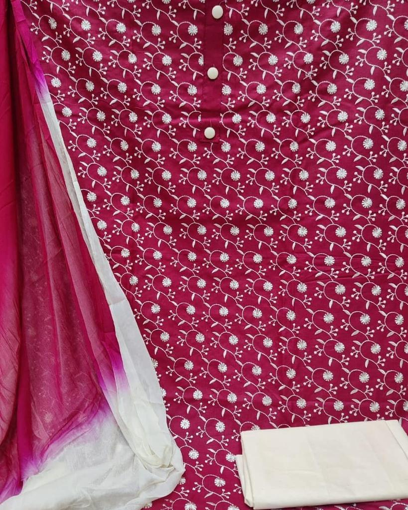 Cotton With Embroidery Work Dress Material At Wholesale Rate
