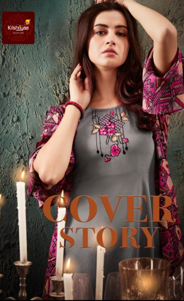 Krishriyaa Fashion Cover Story Designer Printed Rayon With Work Readymade Kurtis With Bottom And Jacket At Wholesale Rate