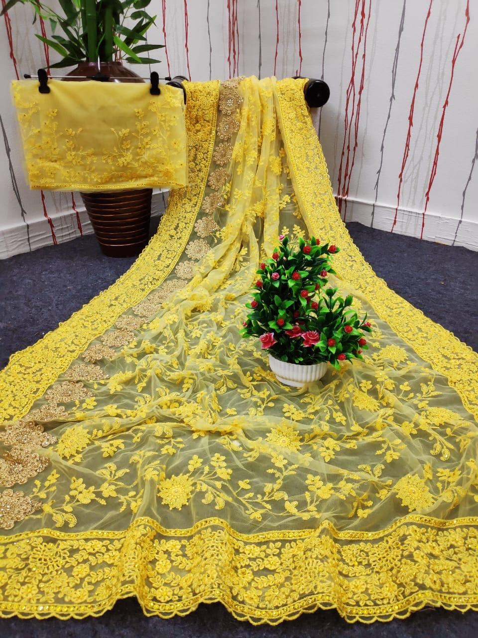 Df 4031 Net Pure Net With Lucknowi Embroidery Work Fancy Boutique Saree Collection At Wholesale Rate