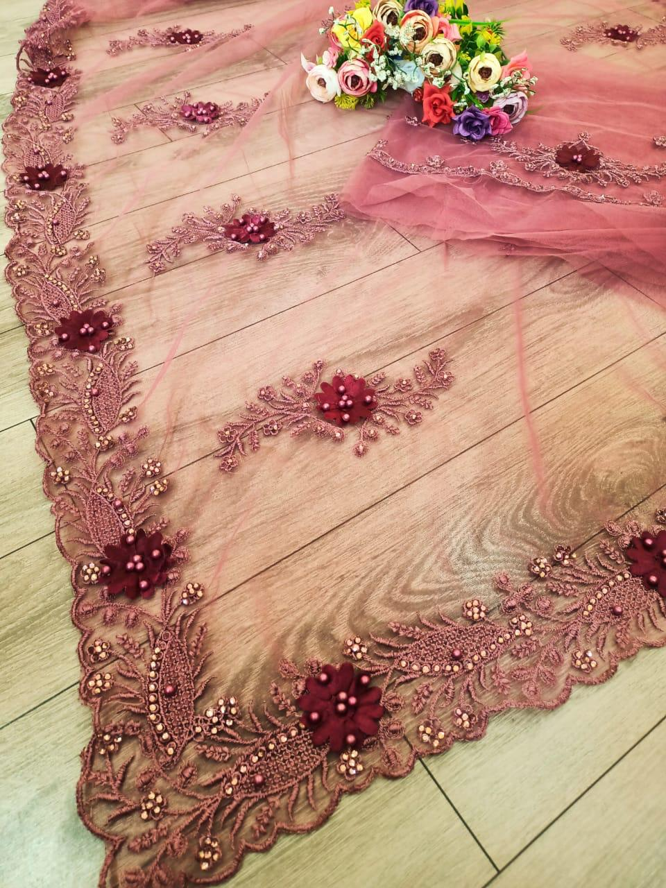 Df 4002 Soft Net With Fancy Embroidery Work With Diamond Work Sarees Collection