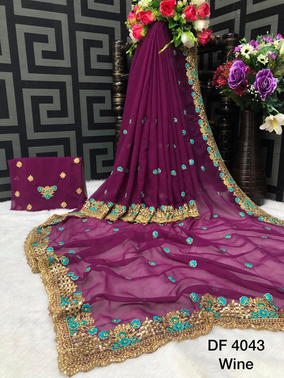Df 4043 Designer Georgette With Embroidery Diamond Work Sarees Collection At Wholesale Rate