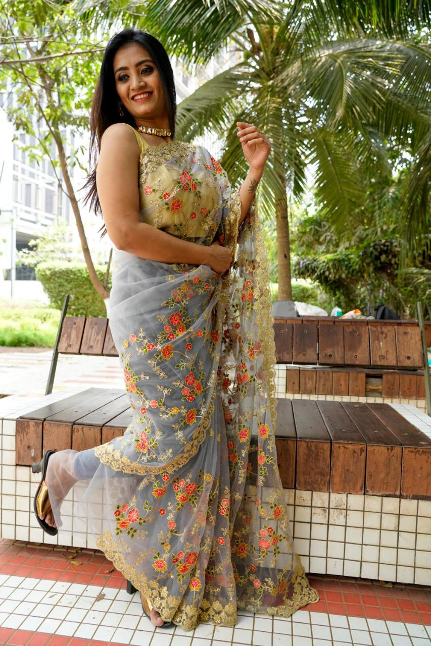 Df 4051 Net With Embroidery Work Designer Boutique Fancy Sarees Collection